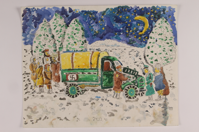 2006.125.44 front Autobiographical watercolor of a group of Jews standing in the snow near a broken truck