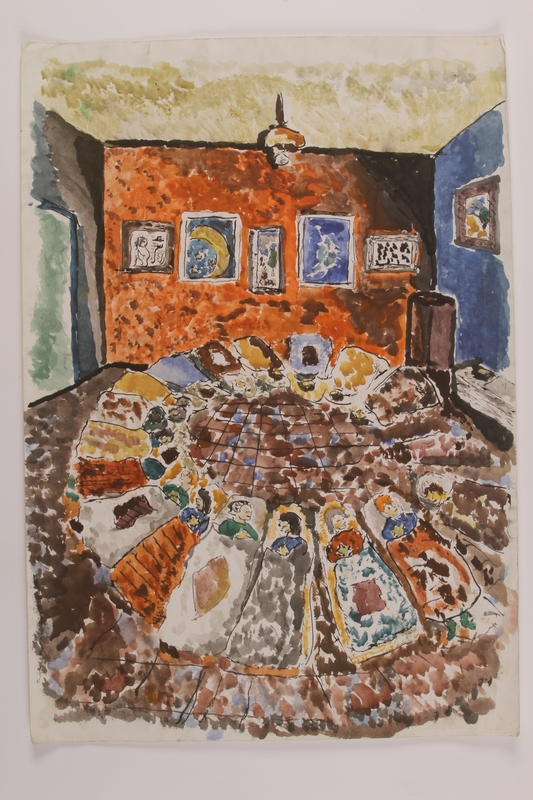 2006.125.41 front Autobiographical painting of a several Jewish children sleeping in an empty room
