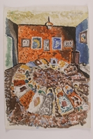 2006.125.41 front Autobiographical painting of a several Jewish children sleeping in an empty room  Click to enlarge