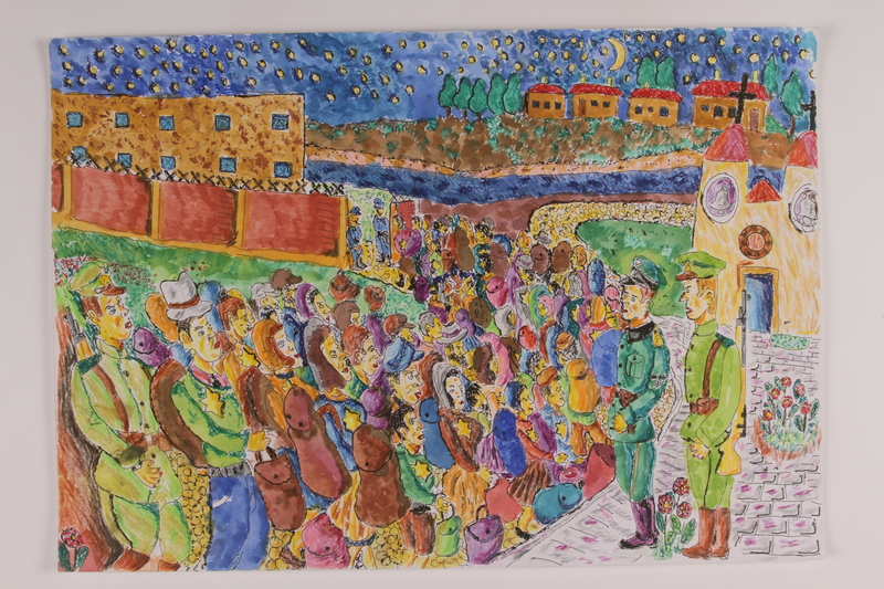 2006.125.40 front Autobiographical painting of a crowd of people with Judenstern being lectured by German guards