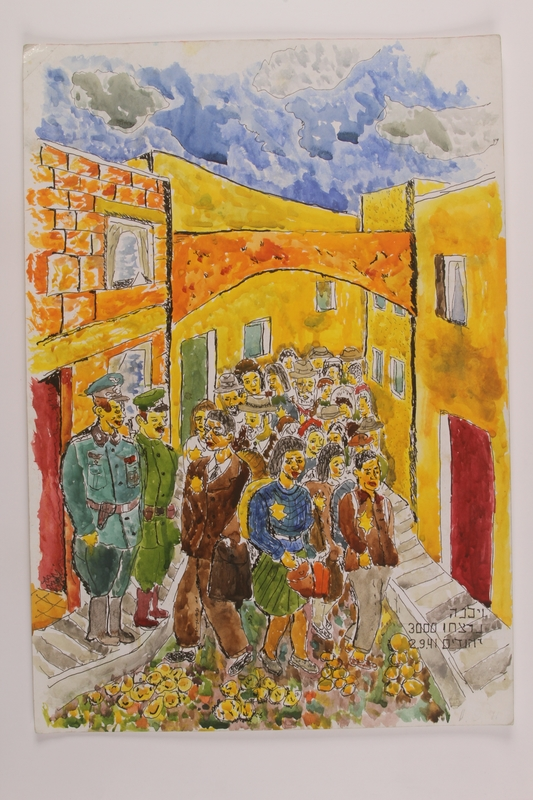 2006.125.39 front Autobiographical watercolor of people with Star of David badges being marched through a town