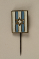2005.579.18 front Stickpin with a Star of David on a blue and white field worn postwar by a former concentration camp inmate and refugee aid worker  Click to enlarge