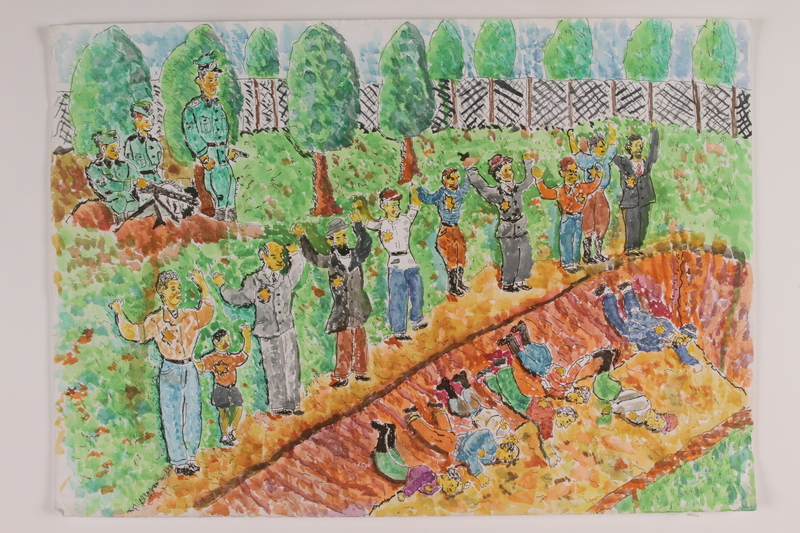 2006.125.38 front Watercolor depicting Nazi soldiers shooting Jewish men and boys into a blood streaked dirt ditch