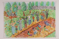 2006.125.38 front Watercolor depicting Nazi soldiers shooting Jewish men and boys into a blood streaked dirt ditch  Click to enlarge