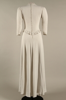 2005.579.2 back Wedding dress with ruffle made for the marriage of 2 German Jewish DP camp aid workers  Click to enlarge