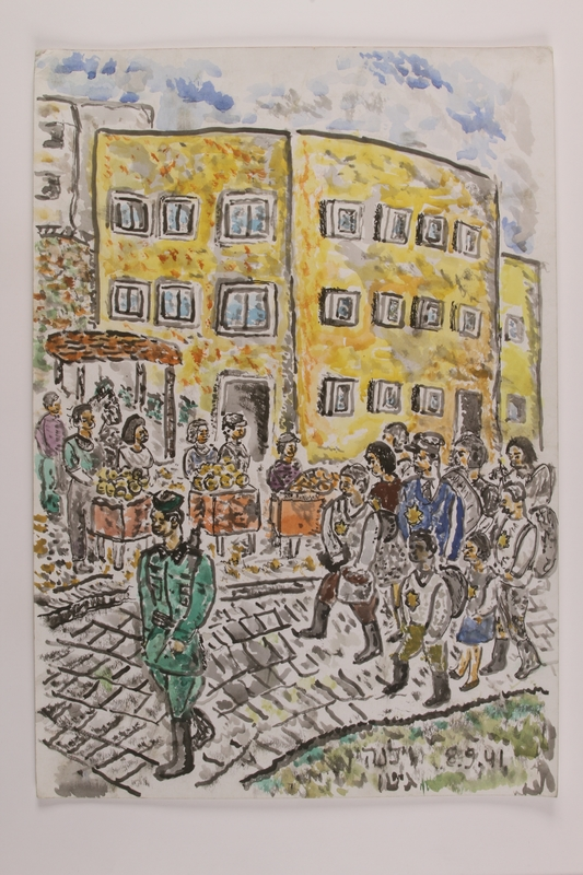 2006.125.36 front Autobiographical watercolor painting of a group of Jewish men, women, and children under guard