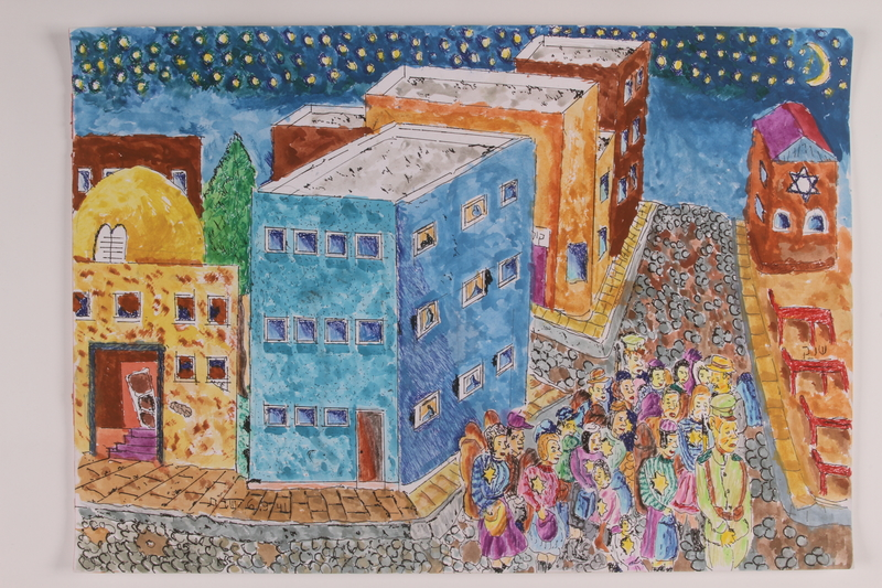 2006.125.34 front Autobiographical painting of a group of Jewish children, men, and women escorted by guards