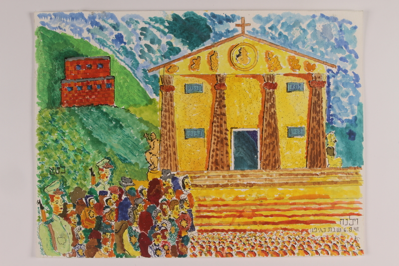 2006.125.33 front Autobiographical painting of a large group of Jews being escorted by guards past a church