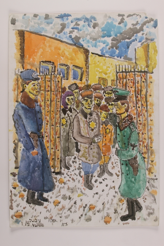 2006.125.29 front Autobiographical watercolor of a group of Jews and soldiers at a ghetto checkpoint