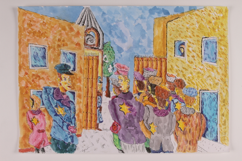 2006.125.28 front Autobiographical drawing of Jewish workers lined up to leave the ghetto