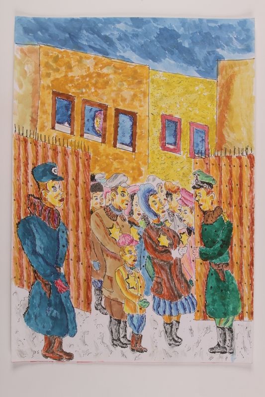2006.125.27 front Autobiographical drawing of a Jewish family at a ghetto gate ID checkpoint