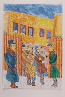 2006.125.27 front Autobiographical drawing of a Jewish family at a ghetto gate ID checkpoint  Click to enlarge