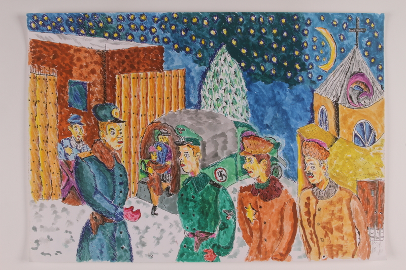 2006.125.26 front Autobiographical watercolor of Jews being unloaded from a truck by German and Lithuanian soldiers