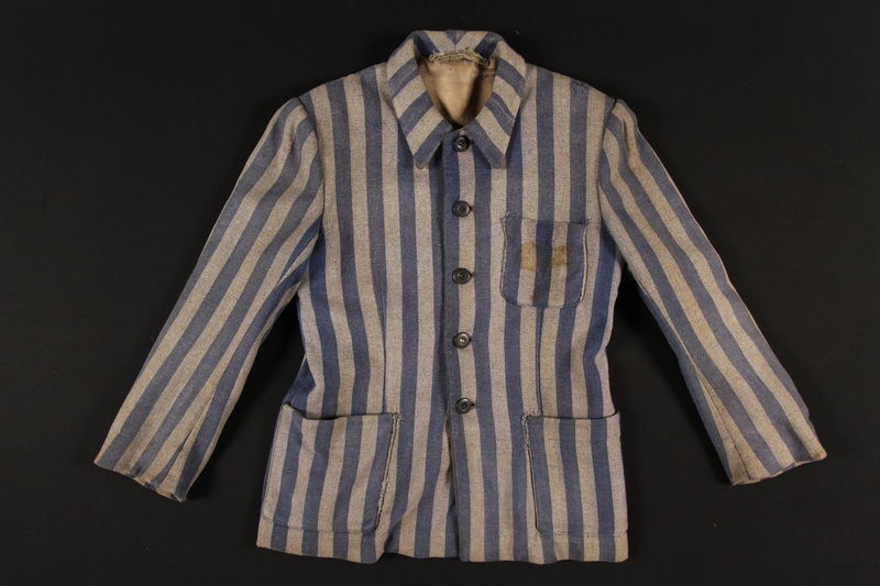 2006.404.1_a front Concentration camp uniform jacket and pants worn by a Catholic Polish prisoner in several camps