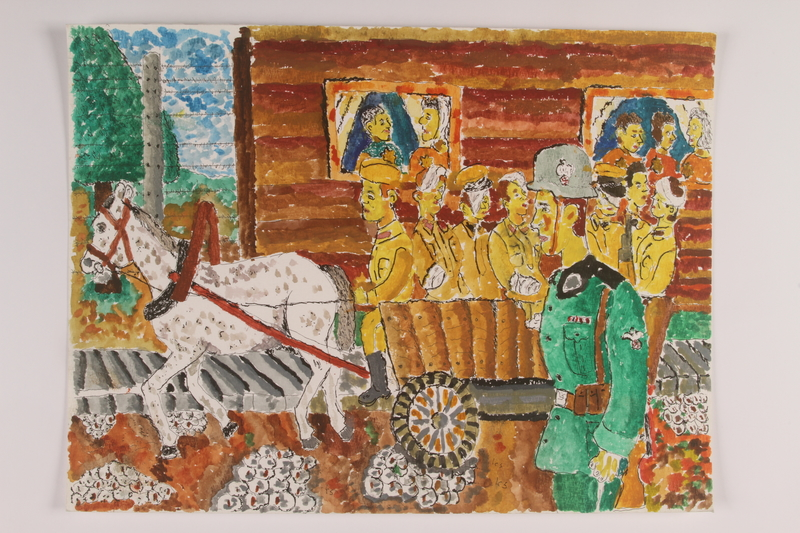 2006.125.90 front Autbiographical watercolor of wounded soldiers being taken through a village