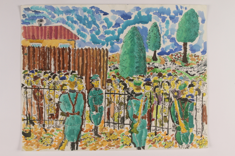 2006.125.87 front Watercolor of soldiers guarding a crowd of Jews behind a fence done by a former child partisan