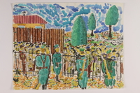 2006.125.87 front Watercolor of soldiers guarding a crowd of Jews behind a fence done by a former child partisan  Click to enlarge