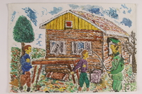 2006.125.83 front Autobiographical watercolor of two youths working under guard by a former child partisan  Click to enlarge