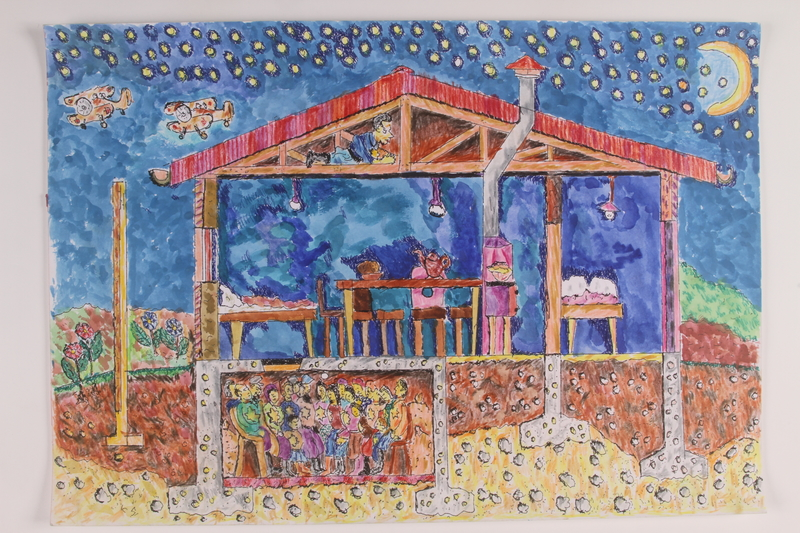 2006.125.82 front Watercolor of people with Judenstern in an underground shelter done by a former child partisan