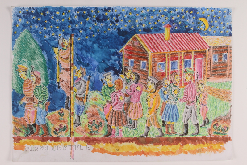2006.125.80 front Autobiographocal watercolor of Jewish partisans climbing the fence out of the ghetto