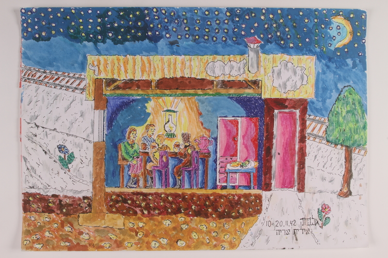 2006.125.77 front Autobiographical watercolor of a Jewish family in their forest hideout done by a former child partisan