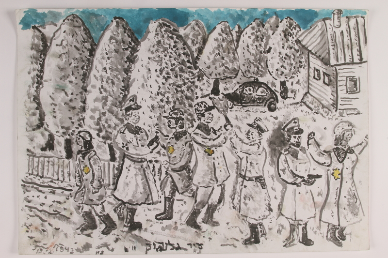 2006.125.75 front Autobiographical monochrome sketch of soldiers arresting a Jewish family by a former child partisan