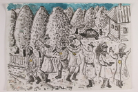 2006.125.75 front Autobiographical monochrome sketch of soldiers arresting a Jewish family by a former child partisan  Click to enlarge