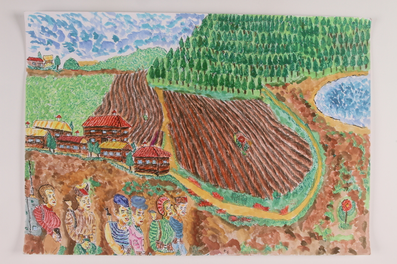 2006.125.66 front Autobiographical watercolor drawing of a partisan patrol passing through a tilled field