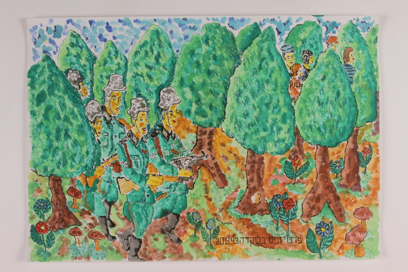 2006.125.60 front Autobiographical watercolor depicting armed Nazi soldiers searching a forest as partisans escape