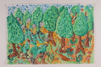 2006.125.60 front Autobiographical watercolor depicting armed Nazi soldiers searching a forest as partisans escape  Click to enlarge