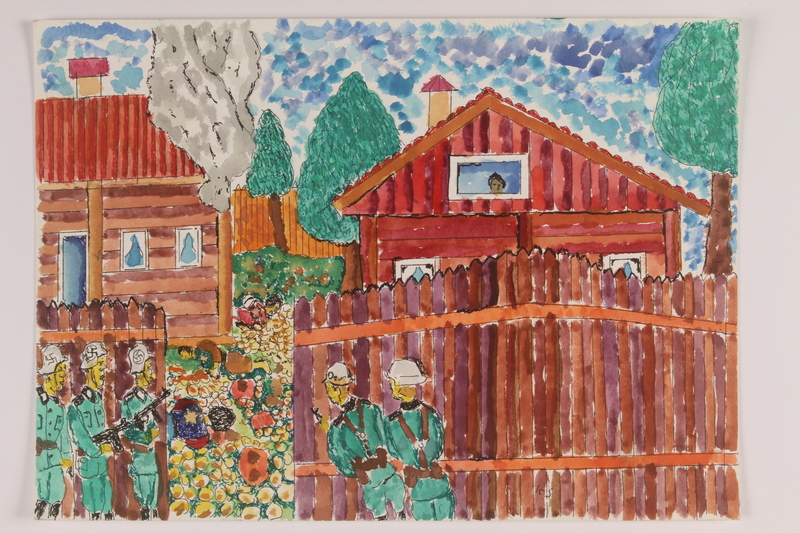 2006.125.58 front Watercolor depicting armed German soldiers looking through a gate at the bodies of dead Jews
