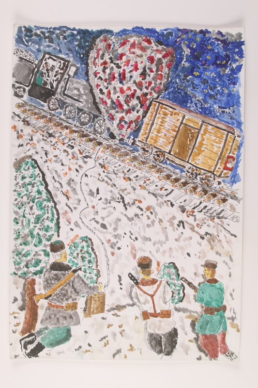 2006.125.11 front Watercolor of partisans setting off an explosion to stop a swastika marked train