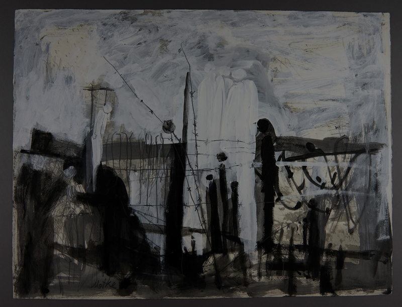 2007.513.1 front Abstract painting of a prison camp with ghostlike figures and a hanging created postwar by a former inmate