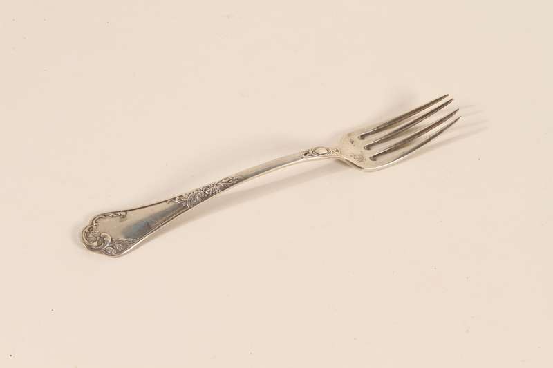 2007.467.1k front Engraved silver 5 piece cutlery set carried by a Kindertransport refugee