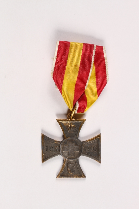 2013.477.2 Front WW I Baden Cross for Volunteer War Aid awarded to a German Jewish veteran
