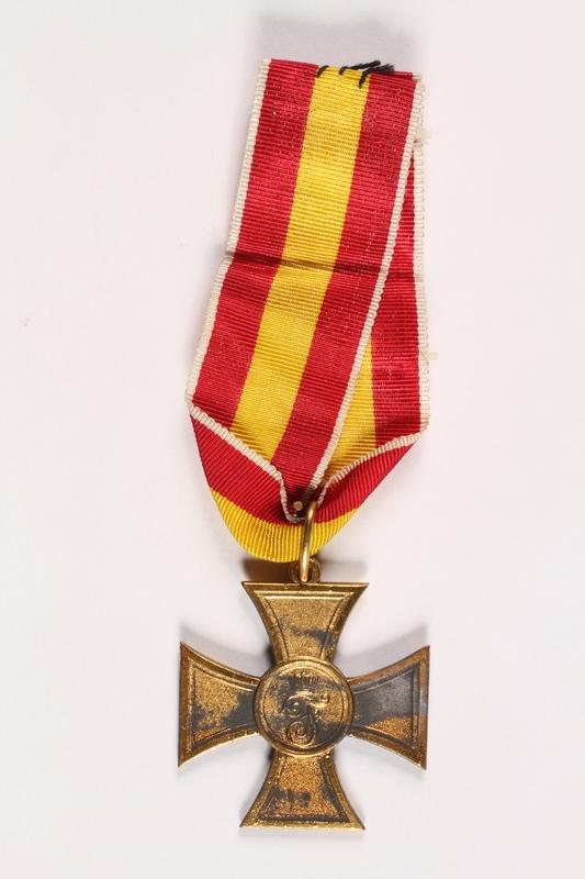 2013.447.2 Back WW I Baden Cross for Volunteer War Aid awarded to a German Jewish veteran