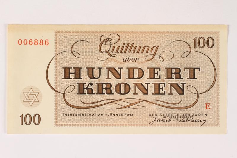 2003.413.7 front Theresienstadt ghetto-labor camp scrip, 100 kronen note