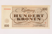 2003.413.7 front Theresienstadt ghetto-labor camp scrip, 100 kronen note  Click to enlarge