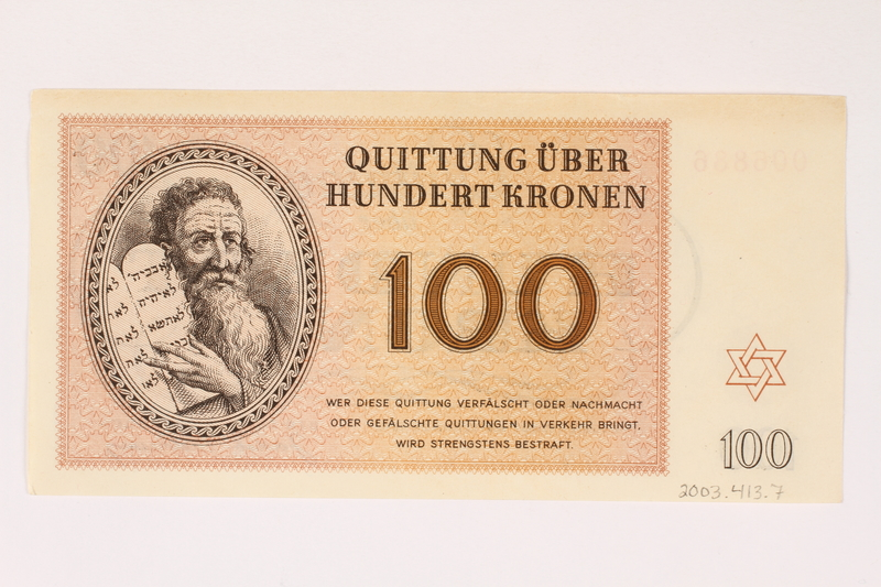 2003.413.7 back Theresienstadt ghetto-labor camp scrip, 100 kronen note