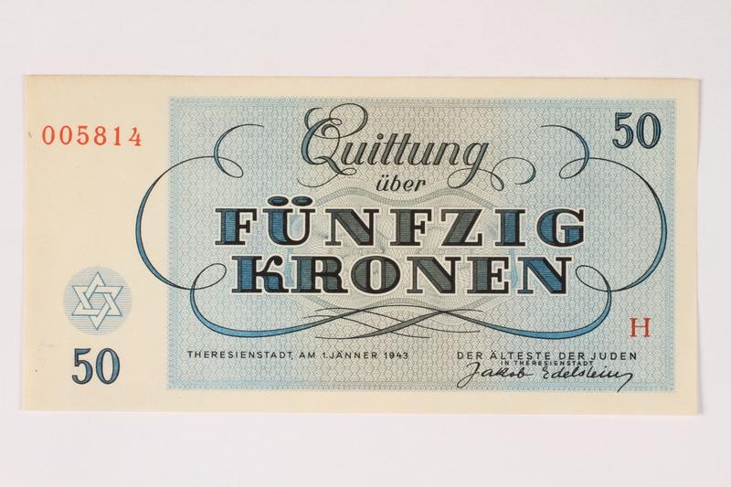 2003.413.8 front Theresienstadt ghetto-labor camp scrip, 50 kronen note