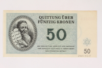 2003.413.8 back Theresienstadt ghetto-labor camp scrip, 50 kronen note  Click to enlarge