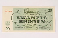 2003.413.9 front Theresienstadt ghetto-labor camp scrip, 20 kronen note  Click to enlarge