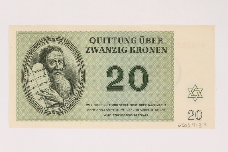 2003.413.9 back Theresienstadt ghetto-labor camp scrip, 20 kronen note