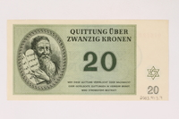 2003.413.9 back Theresienstadt ghetto-labor camp scrip, 20 kronen note  Click to enlarge