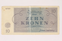 2003.413.10 front Theresienstadt ghetto-labor camp scrip, 10 kronen note  Click to enlarge