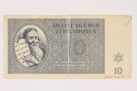 2003.413.10 back Theresienstadt ghetto-labor camp scrip, 10 kronen note  Click to enlarge