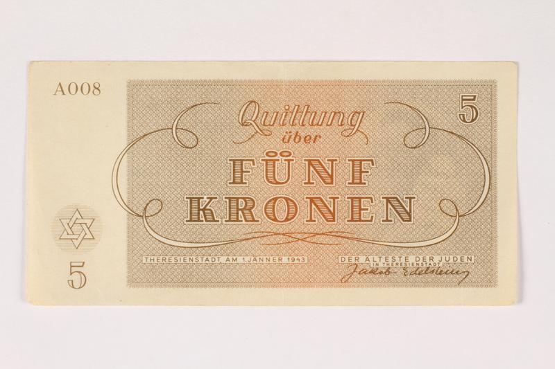 2003.413.11 front Theresienstadt ghetto-labor camp scrip, 5 kronen note