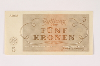2003.413.11 front Theresienstadt ghetto-labor camp scrip, 5 kronen note  Click to enlarge