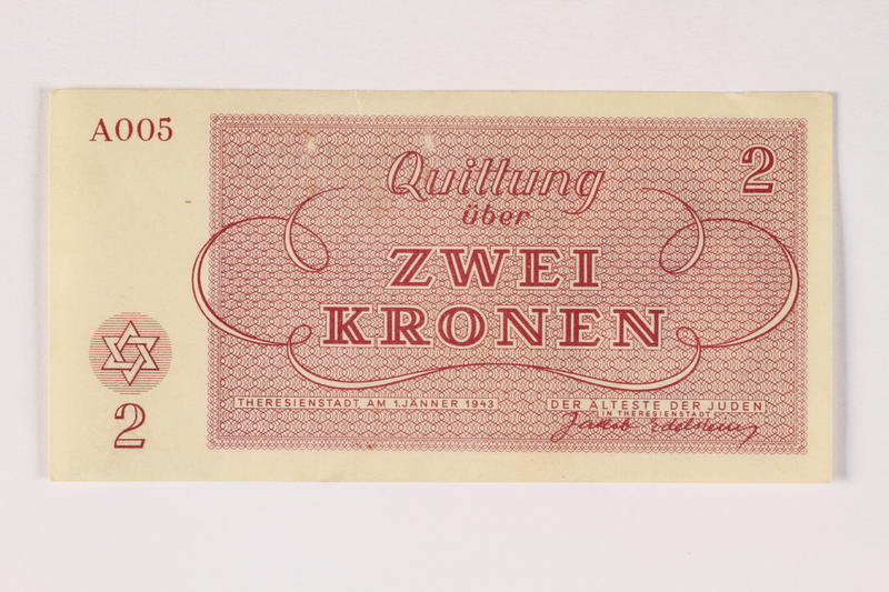 2003.413.12 front Theresienstadt ghetto-labor camp scrip, 2 kronen note