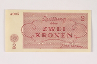 2003.413.12 front Theresienstadt ghetto-labor camp scrip, 2 kronen note  Click to enlarge
